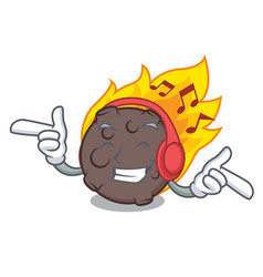 Listening music meteorite mascot cartoon style vector