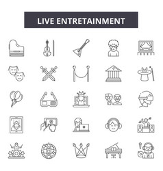live entertainment line icons signs set vector image