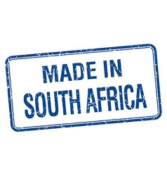 made in South Africa blue square isolated stamp vector image