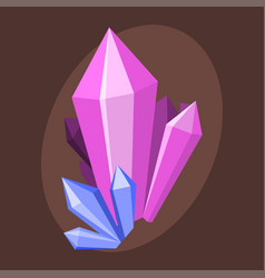 Magic crystals nature gem geology precious jewelry vector