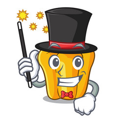 Magician sweet yellow pepper isolated on mascot vector