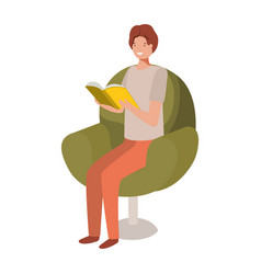 man reading book in sofa avatar character vector image
