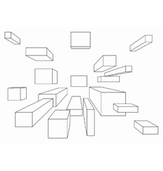 Many cubes in one point perspective vector image