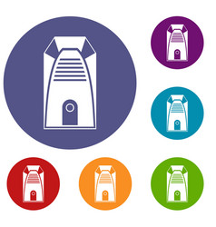 Modern electric home heater icons set vector