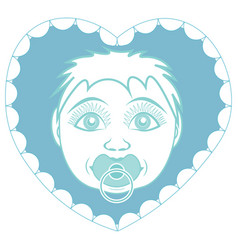newborn baby son with pacifier portrait in a vector image