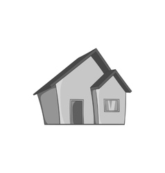 One storey house icon black monochrome style vector