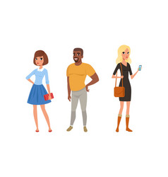 people standing together set office workers vector image