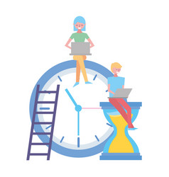 people working with laptop clock vector image