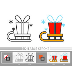 present santa gift box delivery on sled line icon vector image