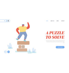 puzzle competition challenge website landing page vector image