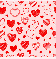red doodle hearts seamless background vector image