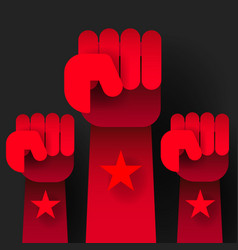 revolution raised hands up on dark vector image