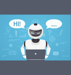 robot uses laptop computer vector image