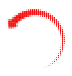 Rotate backward halftone dotted icon vector