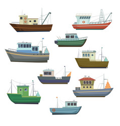 sea fishing vessels and boats sea ships for vector image