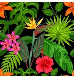 Seamless pattern with tropical plants leaves and vector image