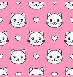 seamless pattern with white cats and hearts vector image