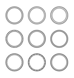 Set black vintage circular frames with ornament vector