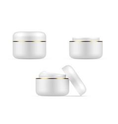set closed and open plastic jar cream branding vector image
