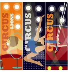 set of circus concept banners Acrobats and vector image