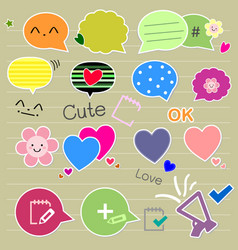 Set of cute thought bubbles vector