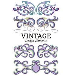 set of vintage floral elements for design vector image