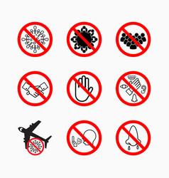 Set prohibit virus icon coronavirus safety vector