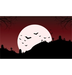 Silhouette of Tomb and bat Halloween vector