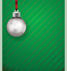 Silver christmas holiday ornament on a green vector