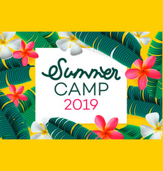 summer camp 2019 handdrawn lettering on jungle vector image