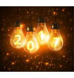 Text for new year 2017 numbers written in lamps vector image