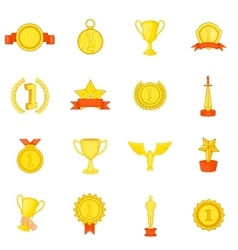 Trophy award icons set in cartoon style vector image