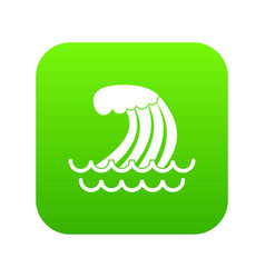 Tsunami wave icon digital green vector