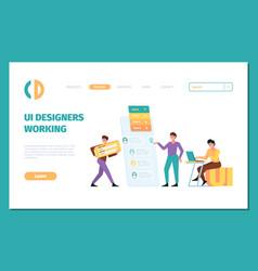 ui builders landing page of designers vector image