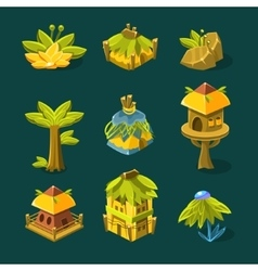 Video Game Tropical Forest Design Collection Of vector