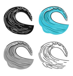 wave icon in cartoon style isolated on white vector image