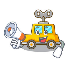 With megaphone character clockwork car for toy vector