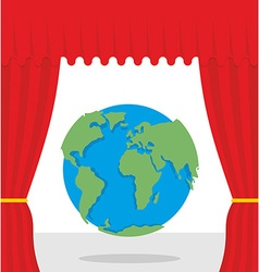 World scene Red curtain opens Earth Theatrical vector