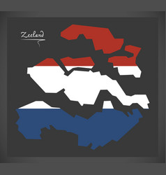 Zeeland netherlands map with dutch national flag vector