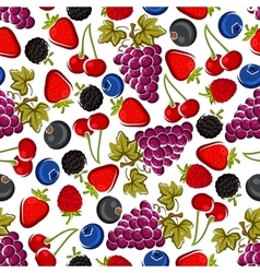 Bright juicy fruits and berries seamless pattern vector image vector image
