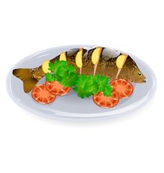 carp with lemon vector image vector image