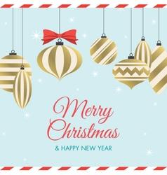 christmas card with christmas balls vector image