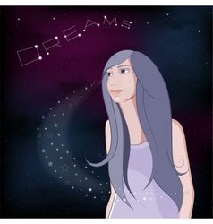 Dreaming girl on night sky background vector image vector image