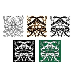 Fighting wolves celtic pattern ornament vector image