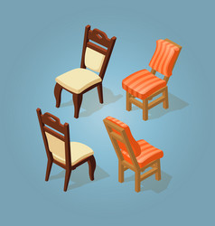 isometric cartoon chairs icon set isolated on blue vector image