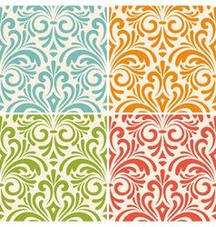 4 seamless floral vintage patterns vector image vector image