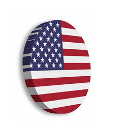 american flag circle 3d button with dropped shadow vector image