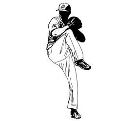 baseball pitcher sketch vector image vector image