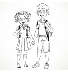 Boy and girl with a school bag holding hands line vector image vector image