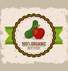 colorful logo of organic best food with cucumber vector image vector image